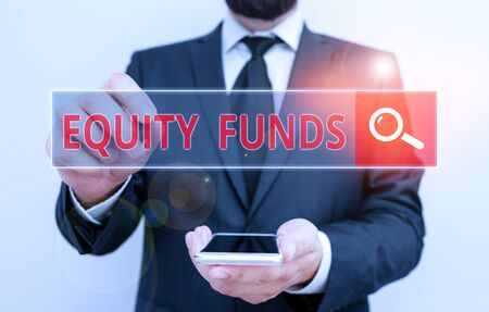 Conceptual hand writing showing Equity Funds. Concept meaning type of mutual fund that buys ownership in businesses
