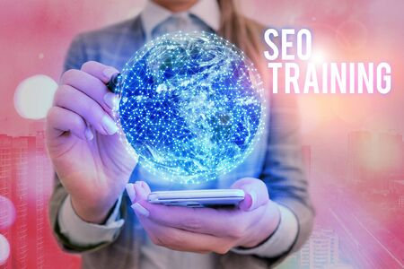 Text sign showing Seo Training. Business photo text learn specific knowledge improve performance in current roles 版權商用圖片