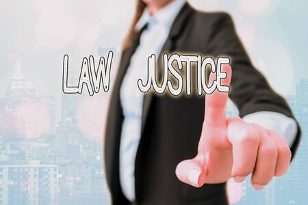 Writing note showing Law Justice. Business concept for a scheme or system of law in which every demonstrating receives