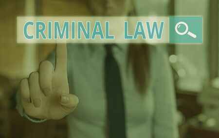 Conceptual hand writing showing Criminal Law. Concept meaning legal system which relates to punishing those commits crime