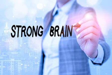 Word writing text Strong Brain. Business photo showcasing own firm attitudes and opinions and are not easily influenced