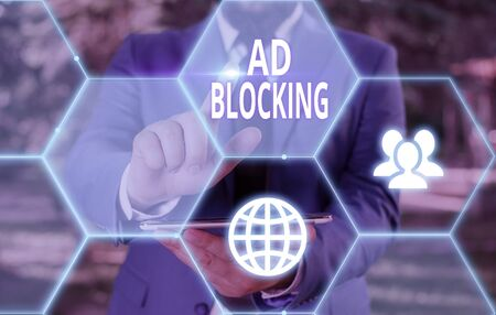 Conceptual hand writing showing Ad Blocking. Concept meaning program that will remove different kinds of advertising from web 版權商用圖片