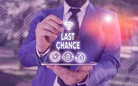 Conceptual hand writing showing Last Chance. Concept meaning a situation considered to be the last opportunity for success Фото со стока