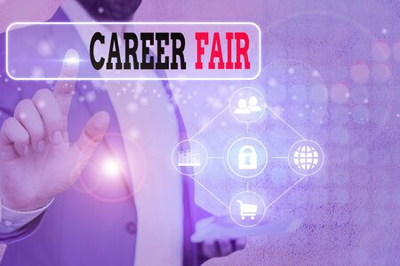Writing note showing Career Fair. Business concept for an event at which job seekers can meet possible employers