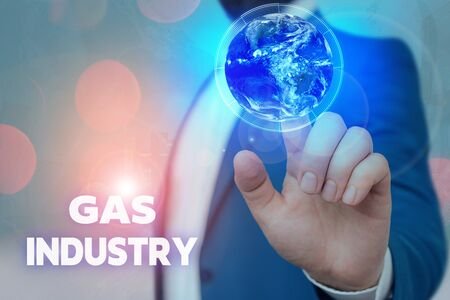 Text sign showing Gas Industry. Business photo showcasing global processes exploration and selling of petroleum products