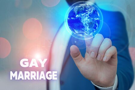 Text sign showing Gay Marriage. Business photo showcasing entered into in a civil or religious ceremony of the same sex 免版税图像