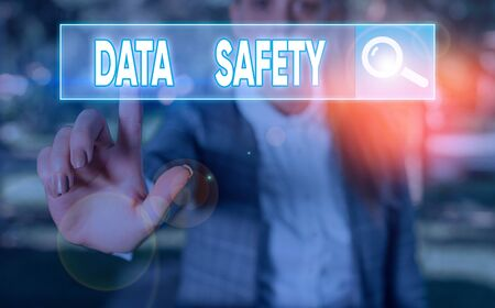 Writing note showing Data Safety. Business concept for concerns protecting data against loss by ensuring safe storage 写真素材