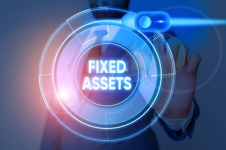 Writing note showing Fixed Assets. Business concept for longterm tangible piece of property or equipment a firm owns