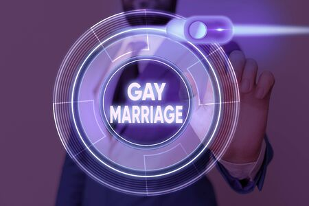 Writing note showing Gay Marriage. Business concept for entered into in a civil or religious ceremony of the same sex 免版税图像