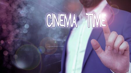 Word writing text Cinema Time. Business photo showcasing which entertainment such showing movie scheduled to start