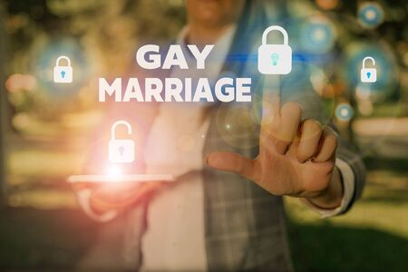 Text sign showing Gay Marriage. Business photo text entered into in a civil or religious ceremony of the same sex 免版税图像