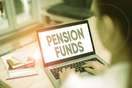 Text sign showing Pension Funds. Business photo showcasing investment pools that pay for employee retirement commitments Zdjęcie Seryjne
