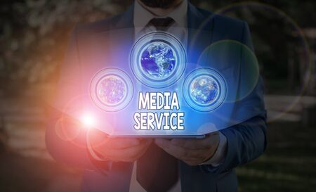 Text sign showing Media Service. Business photo text server programs that delivers streaming media over the Web