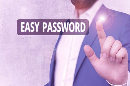 Text sign showing Easy Password. Business photo showcasing Easy code that enables one to gain admission to program 版權商用圖片