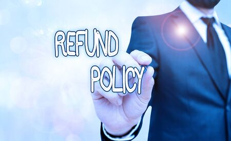 Handwriting text Refund Policy. Conceptual photo refund or exchange defective merchandise previously buy Zdjęcie Seryjne