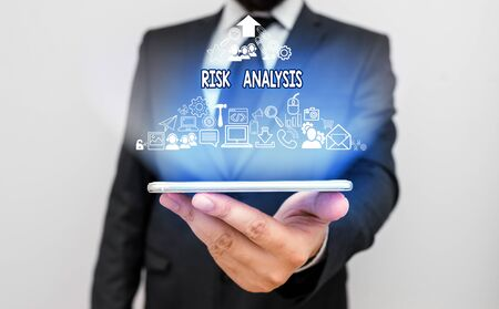 Text sign showing Risk Analysis. Business photo text review of the risks associated with a particular event Banque d'images