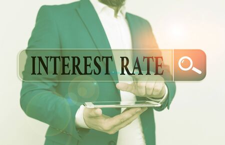 Word writing text Interest Rate. Business photo showcasing percentage of principal charged by the lender to borrower