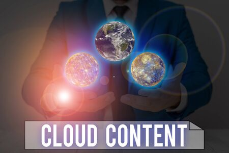 Word writing text Cloud Content. Business photo showcasing Standalone platform or supported by an additional services