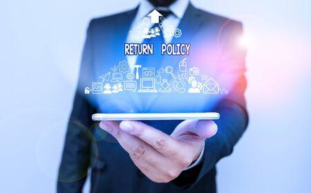 Signe texte montrant la politique de retour. Texte de photo d'entreprise retourner ou échanger la marchandise défectueuse qu'ils achètent avant