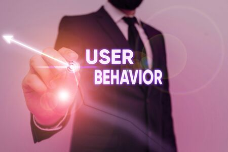 Text sign showing User Behavior. Business photo showcasing focuses on user activity as opposed to static threat indicator Banco de Imagens
