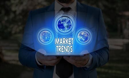 Text sign showing Market Trends. Business photo text Changes and developments in buying and selling in the market