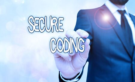Handwriting text Secure Coding. Conceptual photo Applied to avoid the introduction of security vulnerabilities
