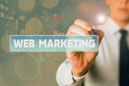 Word writing text Web Marketing. Business photo showcasing The process of using the Internet to market the business