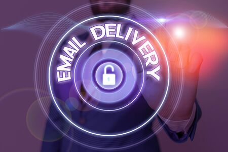 Text sign showing Email Delivery. Business photo showcasing a type delivery in which tickets are delivered electronically