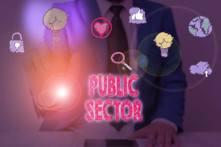 Text sign showing Public Sector. Business photo showcasing the part of an economy that is controlled by the state