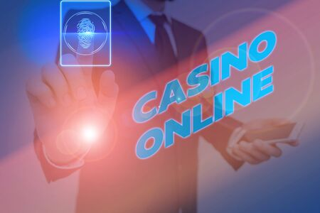 Word writing text Casino Online. Business photo showcasing gamblers can play and wager on casino games through online