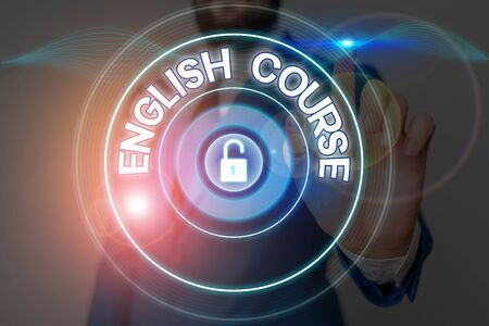 Text sign showing English Course. Business photo showcasing courses cover all levels of speaking and writing in english 免版税图像
