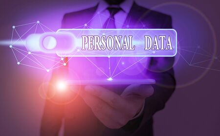 Text sign showing Personal Data. Business photo showcasing Information that relates to an identifiable individual