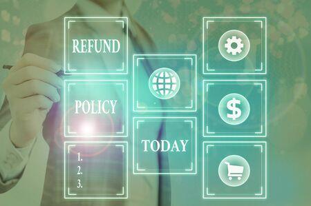 Word writing text Refund Policy. Business photo showcasing refund or exchange defective merchandise previously buy Zdjęcie Seryjne