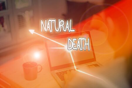 Writing note showing Natural Death. Business concept for occurring in the course of nature and from natural causes