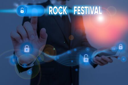 Conceptual hand writing showing Rock Festival. Concept meaning Largescale rock music concert featuring heavy metals genre