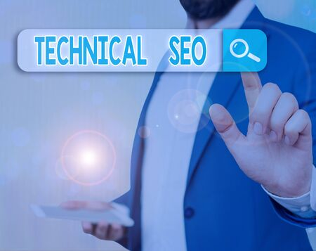 Conceptual hand writing showing Technical Seo. Concept meaning Optimization of website that doesn t involve the content part