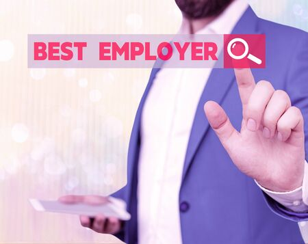 Word writing text Best Employer. Business photo showcasing creating a culture where employees feel valued and appreciated