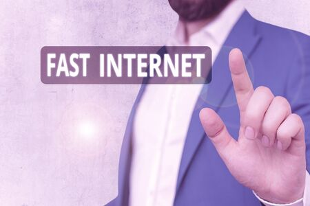 Text sign showing Fast Internet. Business photo showcasing term used for Internet service that is faster than the average