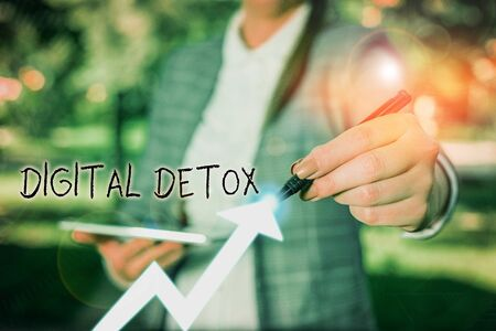 Writing note showing Digital Detox. Business concept for period of time during a demonstrating stops from using gadgets