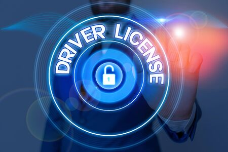 Text sign showing Driver License. Business photo showcasing a document permitting a demonstrating to drive a motor vehicle Imagens