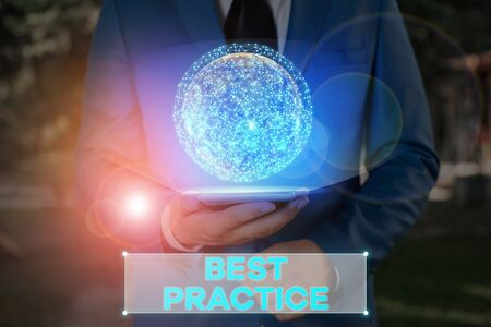 Writing note showing Best Practice. Business concept for commercial or professional procedures that are accepted