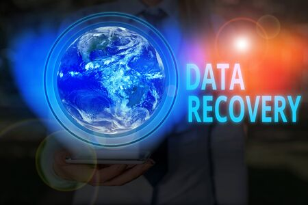 Handwriting text writing Data Recovery. Conceptual photo process of salvaging inaccessible lost or corrupted data Standard-Bild
