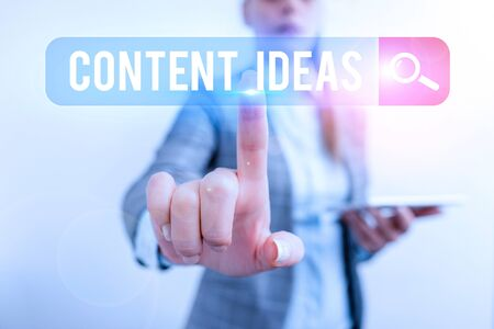 Writing note showing Content Ideas. Business concept for the formulated thought or opinion for content campaign