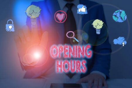 Text sign showing Opening Hours. Business photo showcasing the time during which a business is open for customers