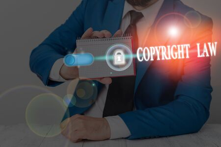Text sign showing Copyright Law. Business photo showcasing body of law that governs the original works of authorship