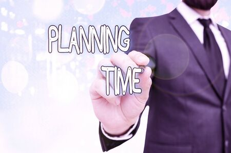 Text sign showing Planning Time. Business photo showcasing Exercising mindful control of time spent on specific activity Stok Fotoğraf
