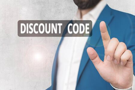 Text sign showing Discount Code. Business photo showcasing Series of letters or numbers that allow you to get a discount Zdjęcie Seryjne