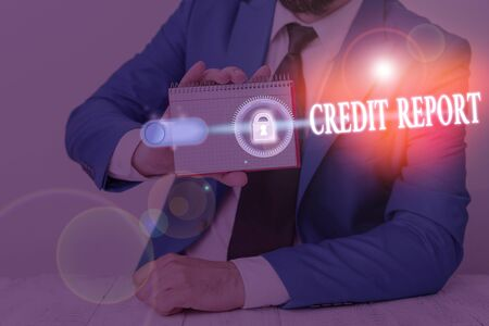 Text sign showing Credit Report. Business photo showcasing it is the detailed report of an individual credit history
