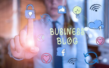 Word writing text Business Blog. Business photo showcasing Devoted to write about subject matter related to the company