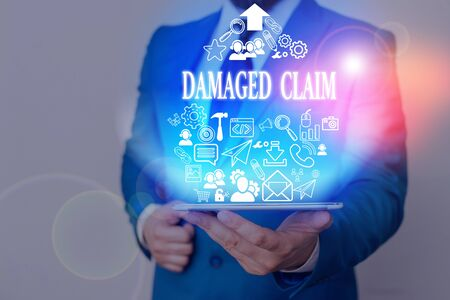 Handwriting text Damages Claim. Conceptual photo Demand upon the insurer for compensation for a damage